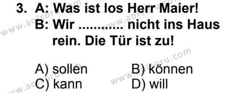 Seçmeli Yabancı Dil Almanca 8 Dersi 2013 - 2014 Yılı 2. Dönem Sınav Soruları 3. Soru