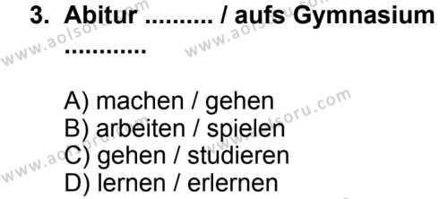 Seçmeli Yabancı Dil Almanca 8 Dersi 2013 - 2014 Yılı 3. Dönem Sınav Soruları 3. Soru