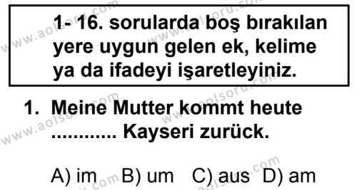 Seçmeli Yabancı Dil Almanca 8 Dersi 2014 - 2015 Yılı 1. Dönem Sınav Soruları 1. Soru
