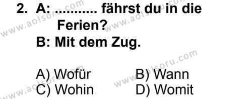 Seçmeli Yabancı Dil Almanca 8 Dersi 2014 - 2015 Yılı 1. Dönem Sınav Soruları 2. Soru