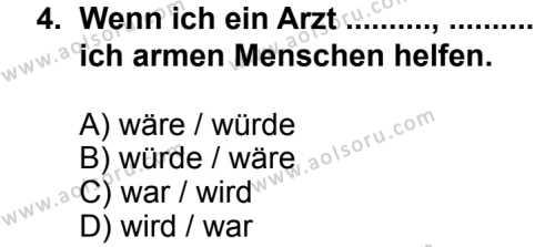 Seçmeli Yabancı Dil Almanca 8 Dersi 2014 - 2015 Yılı 1. Dönem Sınav Soruları 4. Soru
