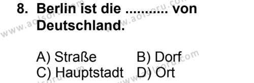 Seçmeli Yabancı Dil Almanca 8 Dersi 2014-2015 Yılı 1. Dönem Sınavı 8. Soru
