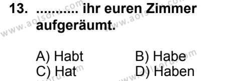 Seçmeli Yabancı Dil Almanca 8 Dersi 2014-2015 Yılı 1. Dönem Sınavı 13. Soru