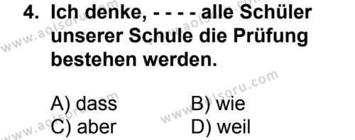 Seçmeli Yabancı Dil Almanca 8 Dersi 2014 - 2015 Yılı 2. Dönem Sınav Soruları 4. Soru