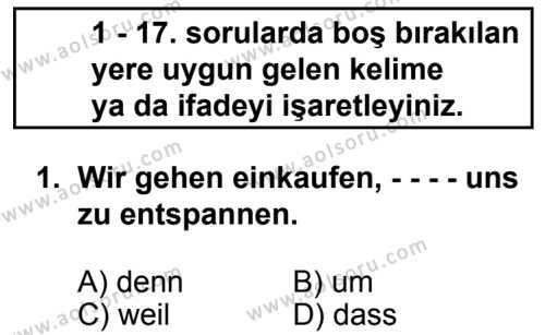Seçmeli Yabancı Dil Almanca 8 Dersi 2014 - 2015 Yılı 3. Dönem Sınav Soruları 1. Soru