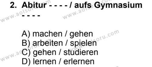 Seçmeli Yabancı Dil Almanca 8 Dersi 2014 - 2015 Yılı 3. Dönem Sınav Soruları 2. Soru