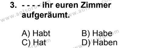 Seçmeli Yabancı Dil Almanca 8 Dersi 2014 - 2015 Yılı Ek Sınav Soruları 3. Soru