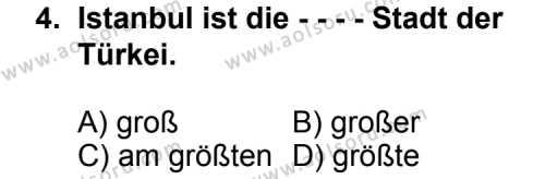 Seçmeli Yabancı Dil Almanca 8 Dersi 2014 - 2015 Yılı Ek Sınav Soruları 4. Soru
