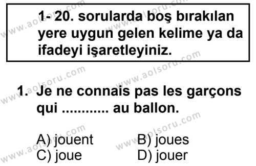 Seçmeli Yabancı Dil Fransızca 3 Dersi 2013 - 2014 Yılı 1. Dönem Sınav Soruları 1. Soru