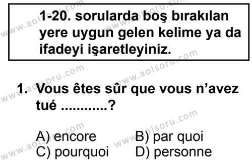 Seçmeli Yabancı Dil Fransızca 3 Dersi 2013 - 2014 Yılı 2. Dönem Sınav Soruları 1. Soru