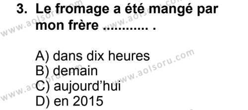 Seçmeli Yabancı Dil Fransızca 3 Dersi 2013 - 2014 Yılı 2. Dönem Sınav Soruları 3. Soru