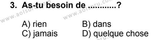 Seçmeli Yabancı Dil Fransızca 3 Dersi 2013 - 2014 Yılı 3. Dönem Sınav Soruları 3. Soru
