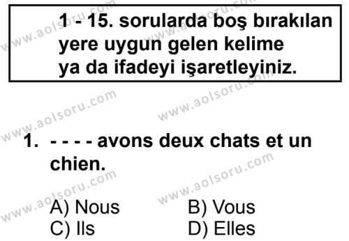 Seçmeli Yabancı Dil Fransızca 3 Dersi 2014 - 2015 Yılı 2. Dönem Sınav Soruları 1. Soru