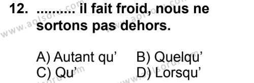 Seçmeli Yabancı Dil Fransızca 4 Dersi 2011-2012 Yılı 1. Dönem Sınavı 12. Soru