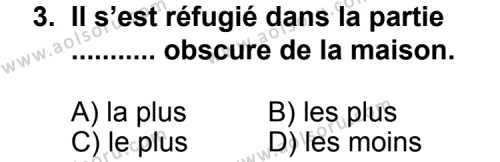 Seçmeli Yabancı Dil Fransızca 4 Dersi 2011 - 2012 Yılı Ek Sınav Soruları 3. Soru