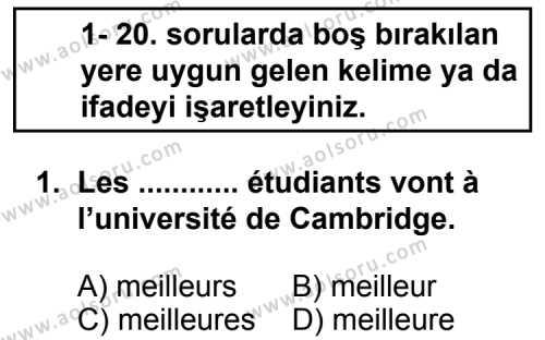 Seçmeli Yabancı Dil Fransızca 4 Dersi 2013 - 2014 Yılı 1. Dönem Sınav Soruları 1. Soru