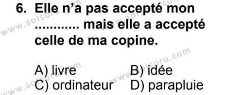 Seçmeli Yabancı Dil Fransızca 4 Dersi 2013-2014 Yılı 1. Dönem Sınavı 6. Soru