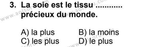 Seçmeli Yabancı Dil Fransızca 4 Dersi 2013 - 2014 Yılı 2. Dönem Sınav Soruları 3. Soru