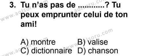 Seçmeli Yabancı Dil Fransızca 4 Dersi 2013 - 2014 Yılı 3. Dönem Sınav Soruları 3. Soru