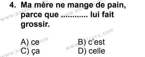 Seçmeli Yabancı Dil Fransızca 4 Dersi 2013 - 2014 Yılı 3. Dönem Sınav Soruları 4. Soru