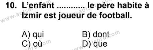 Seçmeli Yabancı Dil Fransızca 5 Dersi 2011-2012 Yılı 1. Dönem Sınavı 10. Soru