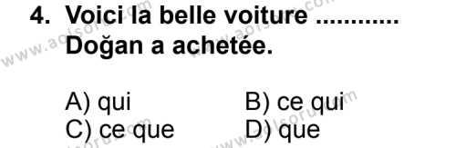 Seçmeli Yabancı Dil Fransızca 5 Dersi 2011 - 2012 Yılı Ek Sınav Soruları 4. Soru