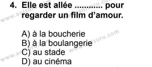 Seçmeli Yabancı Dil Fransızca 5 Dersi 2013 - 2014 Yılı 1. Dönem Sınav Soruları 4. Soru
