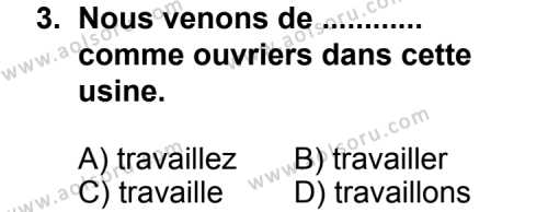 Seçmeli Yabancı Dil Fransızca 5 Dersi 2013 - 2014 Yılı 3. Dönem Sınav Soruları 3. Soru