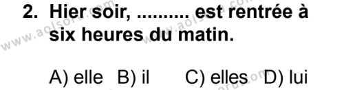Seçmeli Yabancı Dil Fransızca 5 Dersi 2014 - 2015 Yılı 1. Dönem Sınav Soruları 2. Soru