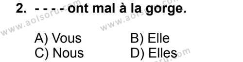 Seçmeli Yabancı Dil Fransızca 5 Dersi 2014 - 2015 Yılı 3. Dönem Sınav Soruları 2. Soru