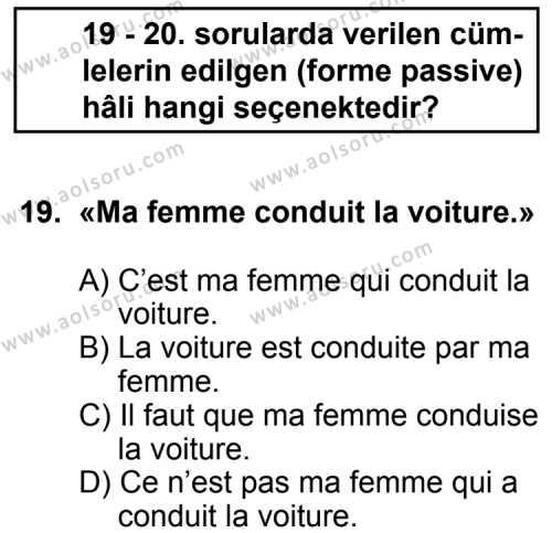 Seçmeli Yabancı Dil Fransızca 6 Dersi 2011-2012 Yılı 1. Dönem Sınavı 19. Soru