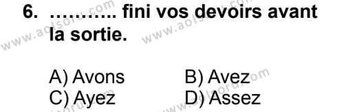 Seçmeli Yabancı Dil Fransızca 6 Dersi 2012-2013 Yılı 1. Dönem Sınavı 6. Soru