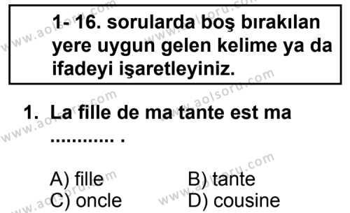 Seçmeli Yabancı Dil Fransızca 6 Dersi 2013 - 2014 Yılı 1. Dönem Sınav Soruları 1. Soru