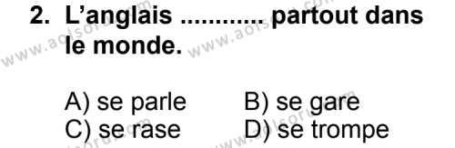 Seçmeli Yabancı Dil Fransızca 6 Dersi 2013 - 2014 Yılı 2. Dönem Sınav Soruları 2. Soru