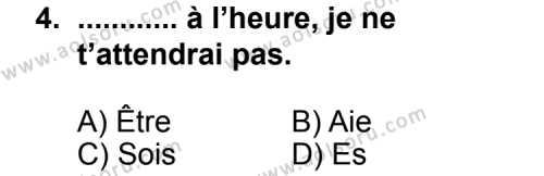 Seçmeli Yabancı Dil Fransızca 6 Dersi 2013 - 2014 Yılı 2. Dönem Sınav Soruları 4. Soru