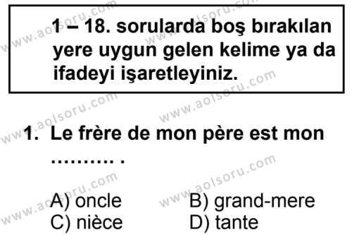 Seçmeli Yabancı Dil Fransızca 6 Dersi 2014-2015 Yılı 1. Dönem Sınavı 1. Soru
