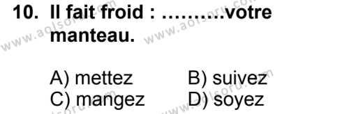 Seçmeli Yabancı Dil Fransızca 6 Dersi 2014-2015 Yılı 1. Dönem Sınavı 10. Soru