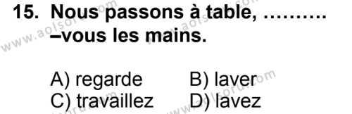 Seçmeli Yabancı Dil Fransızca 6 Dersi 2014-2015 Yılı 1. Dönem Sınavı 15. Soru