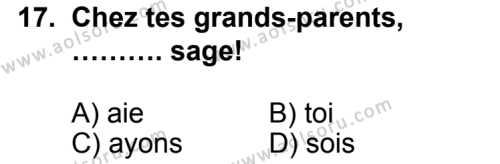 Seçmeli Yabancı Dil Fransızca 6 Dersi 2014-2015 Yılı 1. Dönem Sınavı 17. Soru