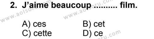 Seçmeli Yabancı Dil Fransızca 7 Dersi 2011 - 2012 Yılı Ek Sınav Soruları 2. Soru