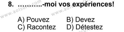 Seçmeli Yabancı Dil Fransızca 7 Dersi 2012-2013 Yılı 1. Dönem Sınavı 8. Soru