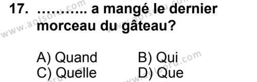 Seçmeli Yabancı Dil Fransızca 7 Dersi 2012-2013 Yılı 1. Dönem Sınavı 17. Soru