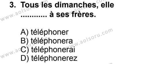 Seçmeli Yabancı Dil Fransızca 7 Dersi 2013 - 2014 Yılı 1. Dönem Sınav Soruları 3. Soru