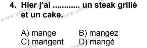 Seçmeli Yabancı Dil Fransızca 7 Dersi 2013 - 2014 Yılı 1. Dönem Sınav Soruları 4. Soru