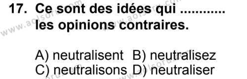 Seçmeli Yabancı Dil Fransızca 7 Dersi 2013-2014 Yılı 1. Dönem Sınavı 17. Soru