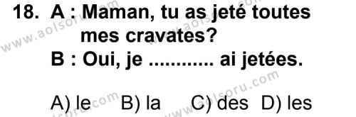 Seçmeli Yabancı Dil Fransızca 7 Dersi 2013-2014 Yılı 1. Dönem Sınavı 18. Soru