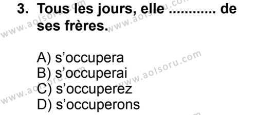 Seçmeli Yabancı Dil Fransızca 7 Dersi 2013 - 2014 Yılı 2. Dönem Sınav Soruları 3. Soru