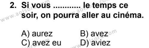 Seçmeli Yabancı Dil Fransızca 7 Dersi 2013 - 2014 Yılı 3. Dönem Sınav Soruları 2. Soru