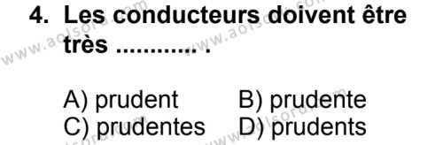 Seçmeli Yabancı Dil Fransızca 7 Dersi 2013 - 2014 Yılı 3. Dönem Sınav Soruları 4. Soru