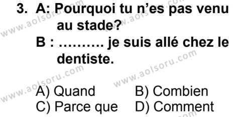 Seçmeli Yabancı Dil Fransızca 7 Dersi 2014 - 2015 Yılı 1. Dönem Sınav Soruları 3. Soru